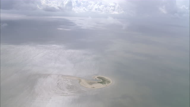 ws aerial zi ds view of island / luetje hoern borkum, lower saxony, germany - north sea stock videos & royalty-free footage