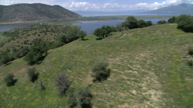 ws aerial view of island / prespes, macedonia, greece - macedonia country stock videos and b-roll footage