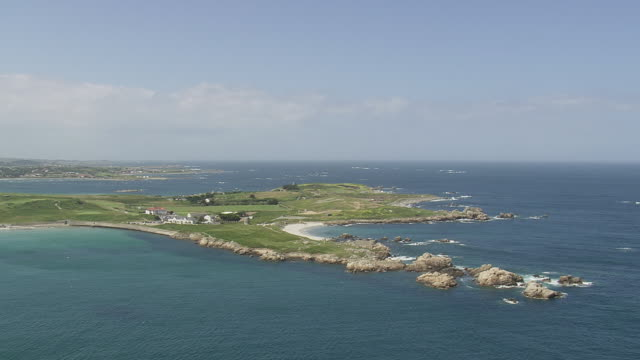 WS AERIAL View of islands and sea / Guernsey, Channel Isles