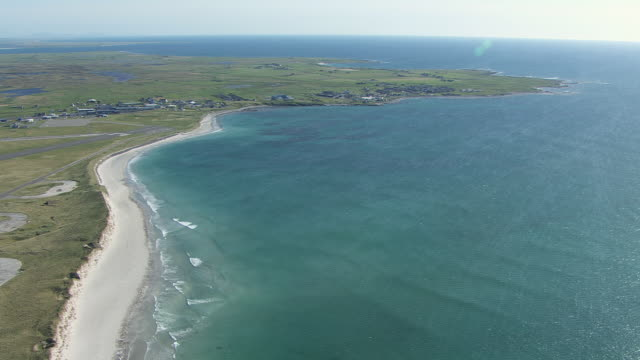 WS AERIAL View of Isle of Benbecula in Outer Hebrides on west coast / Isle of Benbecula, Hebrides, Scotland