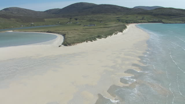 WS AERIAL PAN View of Isle of Harris in Outer Hebrides on west coast of Scotland showing Scarista beach / Isle of Harris, Hebrides, Scotland