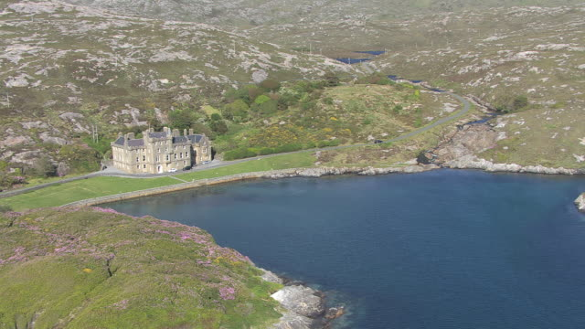 WS AERIAL ZI TS View of Isle of Harris showing Amhuinnsuidhe Castle / Amhuinnsuidhe, Isle of Harris, Hebrides, Scotland