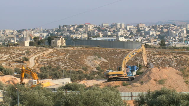 WS View of Israeli West Bank wall at Beit Lehem area / Jerusalem, Judea, Israel