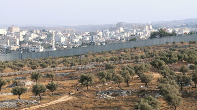 WS View of Israeli West Bank wall at Beit Lehem area / Jerusalem, Judea, Israel