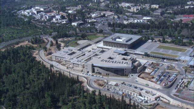 WS POV ZI AERIAL View of Israel's parliament / Jerusalem, Israel