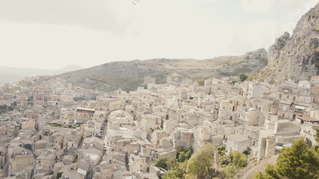 view of italian mountain village from above - italy stock videos & royalty-free footage