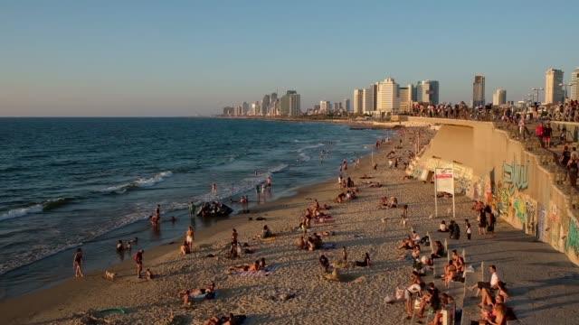 view of jaffa beach also gan hamidron beach along the mediterranean seashore of tel aviv-jaffa, israel - jaffa stock videos & royalty-free footage
