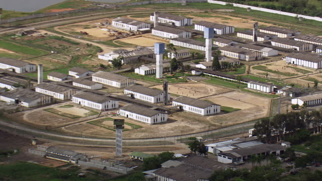 ws aerial zi view of jail / sao paulo, brazil - prison wall stock videos & royalty-free footage