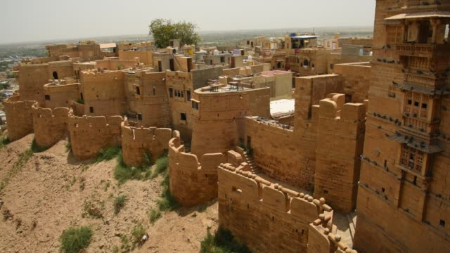 view of jaisalmer city from jaisalmer fort, jaisalmer, rajasthan, india. - fortress stock videos & royalty-free footage
