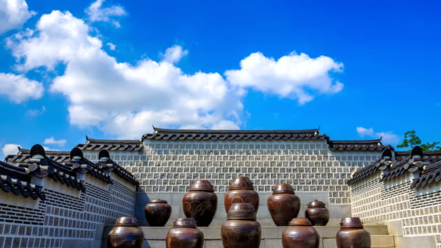 view of jang dok(stocker) and stone wall in gyeongbokgung(ancient palace) - medium group of objects stock videos and b-roll footage