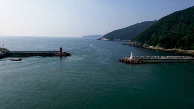 view of jangseungpo port in geoje island, south korea - groyne stock videos & royalty-free footage
