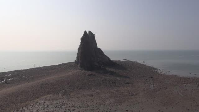 ws aerial view of jebudo island with mud flat / hwaseong, gyeonggi-do, south korea - mud flat stock videos & royalty-free footage