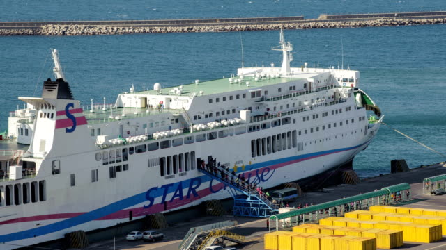 stockvideo's en b-roll-footage met view of jeju international passenger terminal - passagiersboot