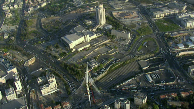 aerial view of jerusalem chords bridge crossing traffic intersection of shazar street and herzl boulevard and international convention center / jerusalem, israel - jerusalem stock videos and b-roll footage