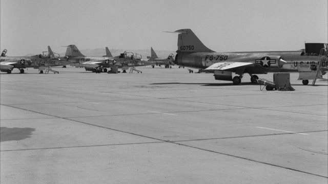 ws view of jet airplanes park at airfield  - united states airforce stock videos and b-roll footage