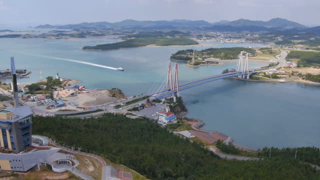 view of jindo tower observation point and jindo bridge in jindo, jeollanam-do - jeollanam do stock videos & royalty-free footage