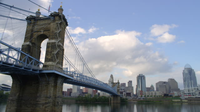WS T/L View of John A.Roebling Suspension Bridge on river with Cincinnati skyline in background / Cincinnati, Ohio, United States
