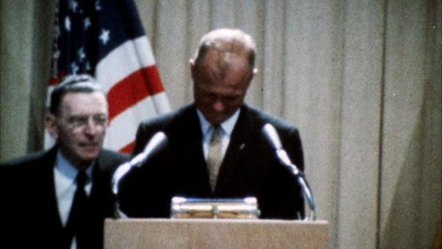 CU View of John Glenn addressing united nations assembly