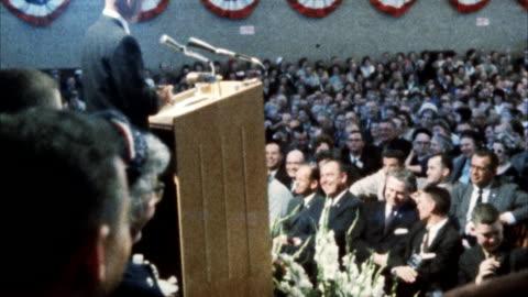 ms view of john glenn addressing united nations assembly - uomo politico video stock e b–roll