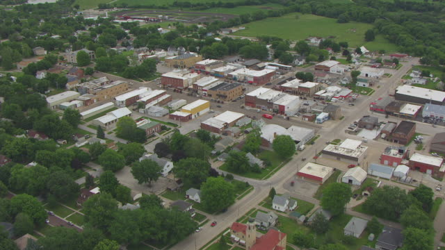 WS ZI AERIAL POV View of Johnny Carson Birthplace in city / Corning, Iowa, United States