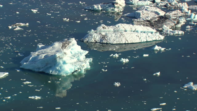 WS AERIAL ZI View of Jokulsarlon icebergs / Iceland