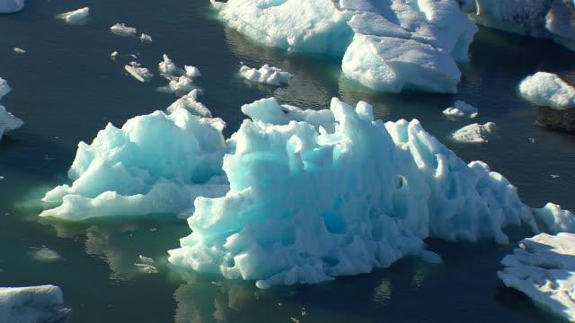 MS AERIAL View of Jokulsarlon icebergs / Iceland