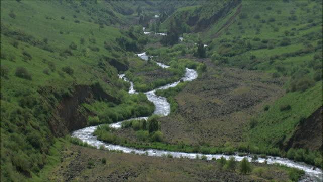 WS POV AERIAL View of Jordan river in upper Galilee / Galilee, Israel