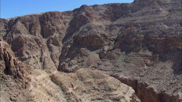 WS POV AERIAL View of Judean desert / Judean Desert, Israel