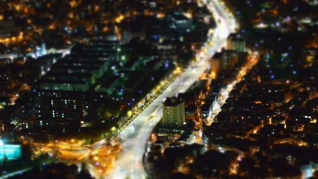 vídeos y material grabado en eventos de stock de ws t/l view of junggu area at night / seoul, south korea  - tilt shift