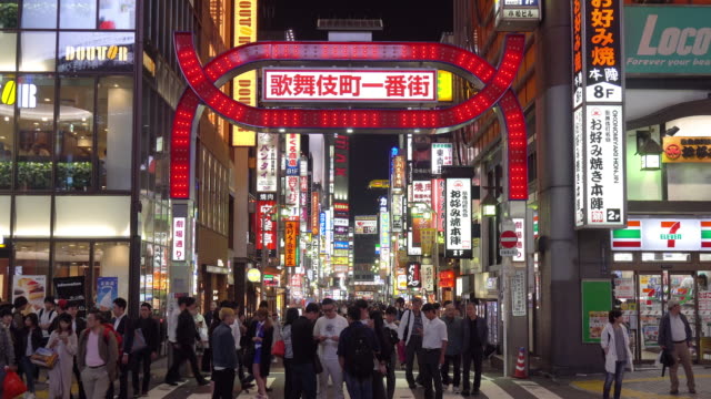 ms view of kabuki-cho at night / tokyo, japan - giappone video stock e b–roll