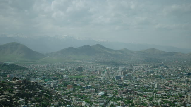 view of kabul city from tv hill - afghanistan stock videos & royalty-free footage