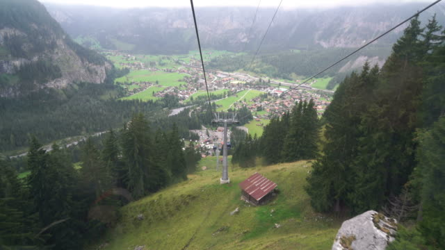 view of Kandersteg from cable car moving