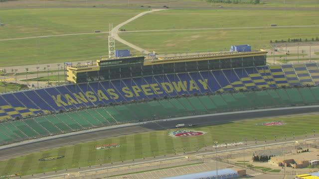 MS AERIAL ZO View of Kansas Speedway car race track / Kansas, United States