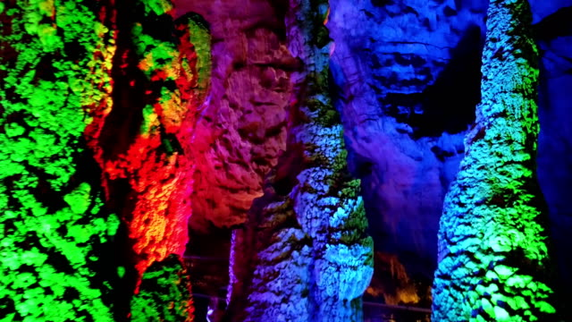 view of karst cave,anshun,guizhou,china. - cave stock videos & royalty-free footage