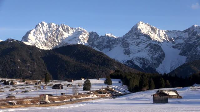 ws view of karwendel mountains / mittenwald, bavaria, germany - karwendel mountains stock videos and b-roll footage