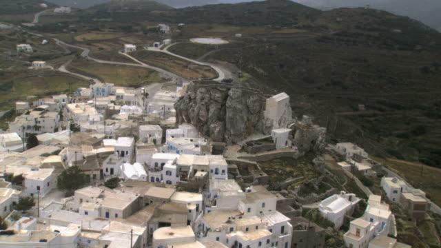 ws aerial view of kastro city monastery in amorgos island / amorgos, cyclades islands, greece - rhodes dodecanese islands stock videos & royalty-free footage