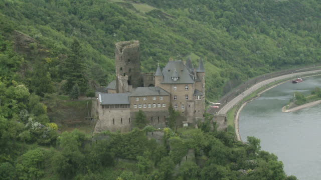 WS View of Katz Castle and Loreley near St. Goar / Rhine-Valley, Rhineland-Palatinate, Germany