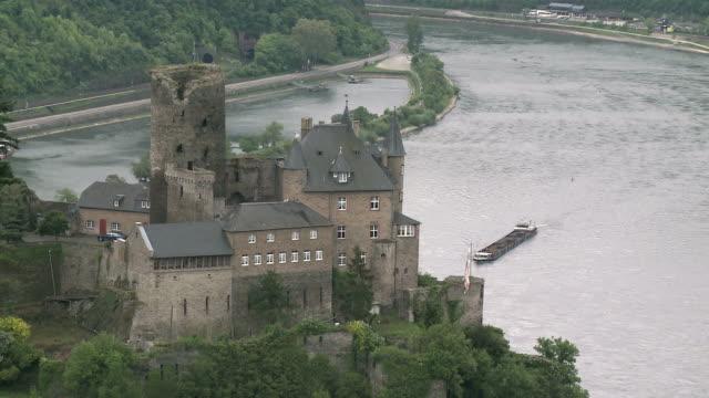 WS View of Katz Castle near St. Goarshausen  / Rhine-Valley, Rhineland-Palatinate, Germany