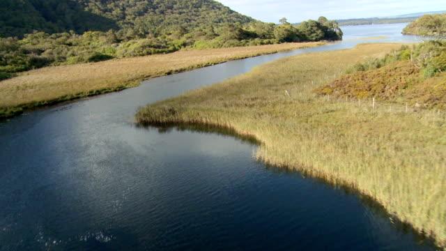AERIAL WS POV View of  killarney lakes / Killarney National Park, Kerry, Munster, Ireland