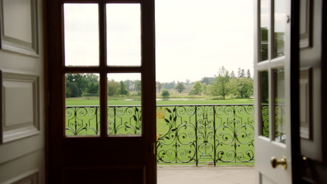 MS View of Kimbolton School open door to country side / Cambridgeshire, United Kingdom