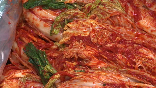 View of Kimchi at Kimchi factory (Popular traditional fermented Korean side dish)