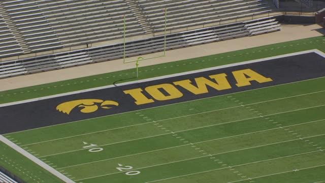 WS AERIAL POV View of Kinnick Stadium in University of Iowa / Iowa City, Iowa, United States