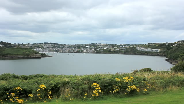 ws view of kinsale from charles fort with river / kinsale, county cork, ireland - county cork stock videos & royalty-free footage
