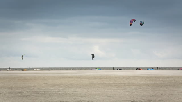 WS View of kite surfers on beach / St. Peter Ording, Schleswig Holstein, Germany