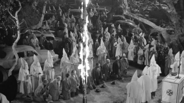 ws view of klan rally, burning cross - ku klux klan stock videos and b-roll footage