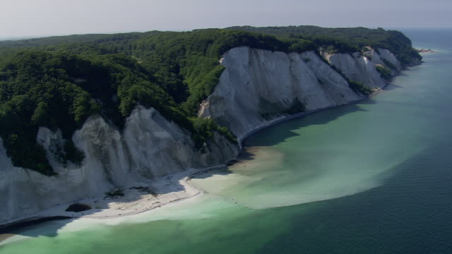 ws aerial zi view of klint / mon, denmark - denmark stock videos & royalty-free footage