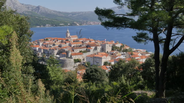 view of korcula old town and adriatic sea, korcula, dalmatia, croatia, europe - adriatic sea stock videos & royalty-free footage