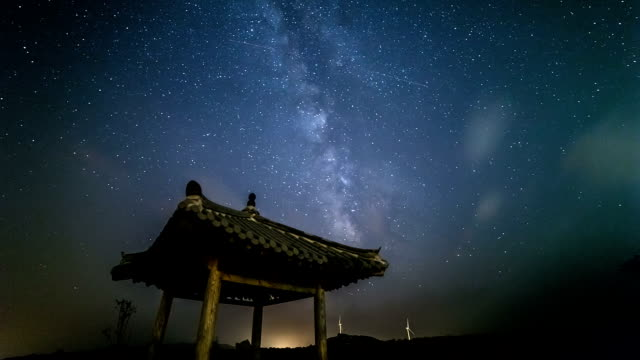 View of Korea traditional architecture(Gazebo) in Gangneung and milky way in star field