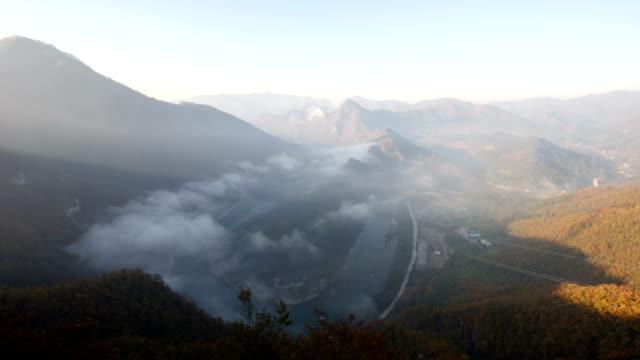 vídeos y material grabado en eventos de stock de view of korean peninsula shaped geography at seonammaeul village (famous tourist attractions) - península