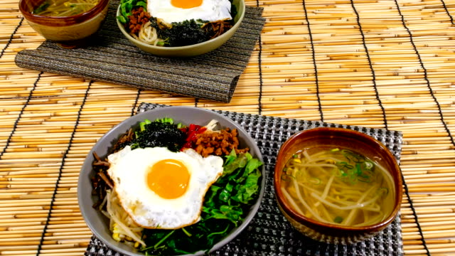 View of Korean traditional Bibimbap (One of the most popular dish in Korea)
